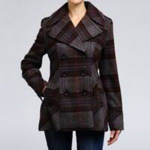 Moda International Plaid Wool Blend Pea Coat